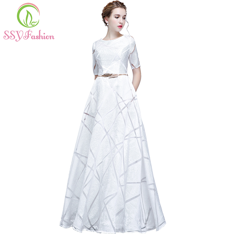 SSYFashion New Simple White   Evening     Dress   The Bride Banquet Elegant Short Sleeves Floor-length Long Prom Party Formal Gown