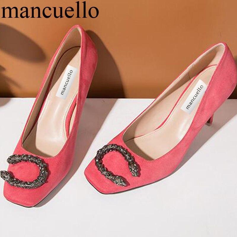 ФОТО mancuello Brand Black Crystal Studded Metal Dragon Head Decor Woman Square Toe Pumps Sexy Ladies Silk Thin High heels Pump Shoes