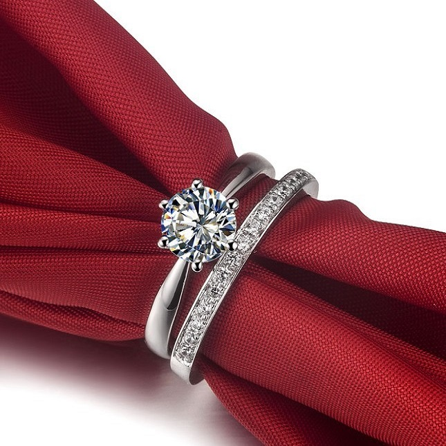 solid 14k white gold 1carat engagement solitaire ring match wedding band semi mount female prongs rings - Solitaire Engagement Ring With Diamond Wedding Band