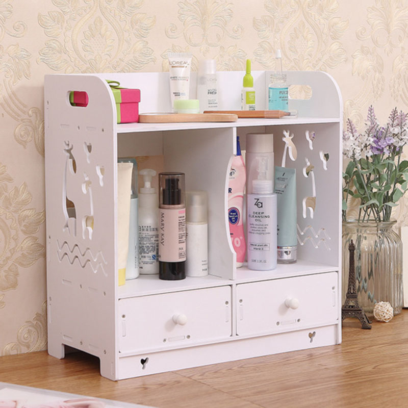 Wall Mounted Beauty Desktop Storage Rack With Drawers