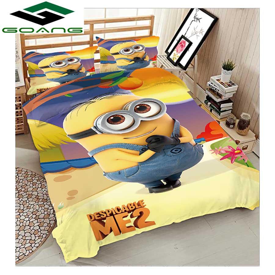 GOANG Bedding Set Duvet Cover Bed Sheet Pillow Case 3pcs Kids Bedding Set 3d Digital Printing Cartoon Minions Home Textiles
