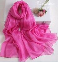 Luz pañuelos para las mujeres pashmina mantón de la Bufanda de Seda hijab Foulard 2016 Rosa Roja Al Por Mayor Cachecol Feminino Sólido Suave envoltura Delgada