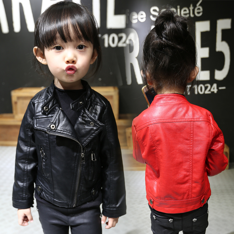 ФОТО Child spring outerwear baby girls PU jacket fashion thin leather long sleeve coat children clothing beauty lovely girls clothes