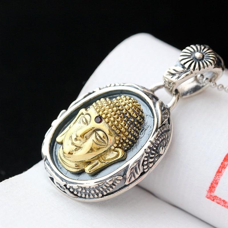 925 sterling silver Buddha head retro silver pendant925 sterling silver Buddha head retro silver pendant
