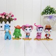 7 cm 5 pçs/lote Anime Brinquedo Sheriff Callie Wild West Sheriff Callie cat cavalo peck toby pvc action figure dolls presente livre grátis