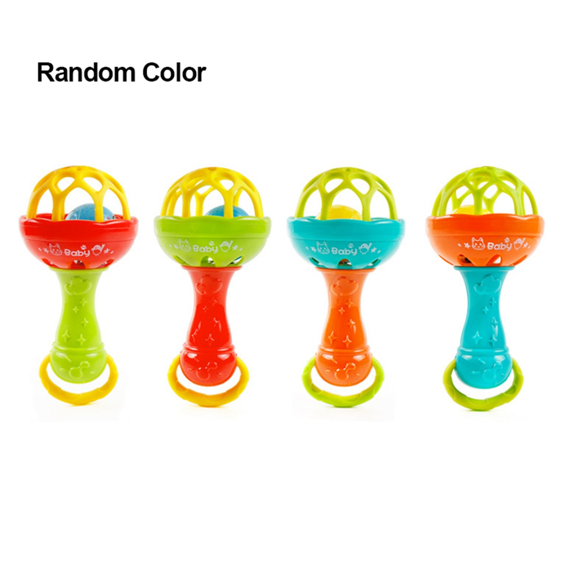 LCLL-Fun Games Baby Soft Rubber Teether Rattle Rod Multi-functional Baby Rattle Stick With Teether Baby Hand Holding Toy