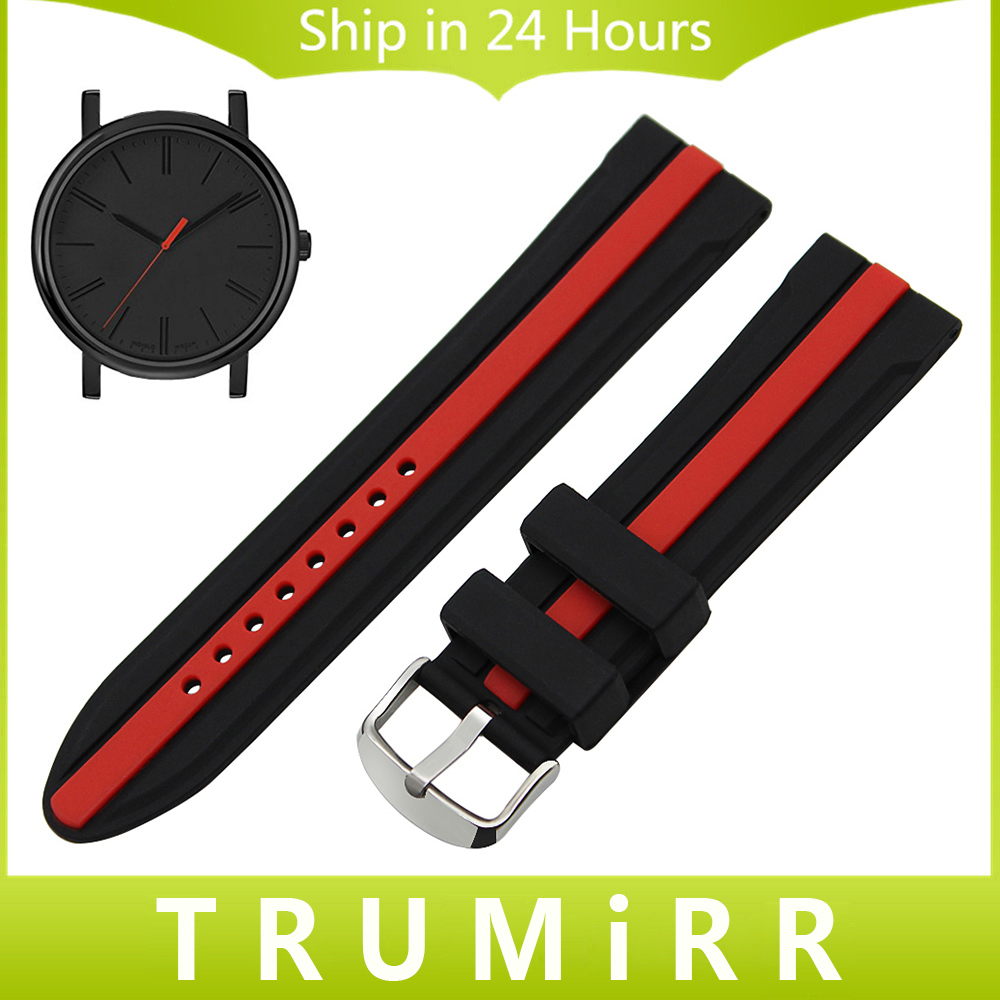 Silicon Rubber Watchband + Tool for Timex Men Women Watch Band Wrist Strap Replacement Bracelet Black Red 19mm 20mm 21mm 22mm replacement cowhide leather common watchband 18mm 19mm 20mm 21mm 22mm men wristwatch band bracelet promotion free tools diy hot
