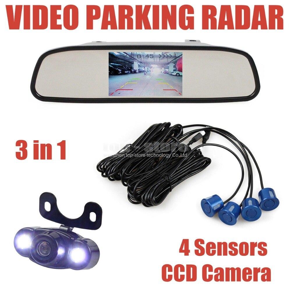 ФОТО DIYKIT 4 Sensors 4.3 Inch Rear View Car Mirror Monitor + Video Parking Radar + LED Ccd Car Camera Parking Assistance System