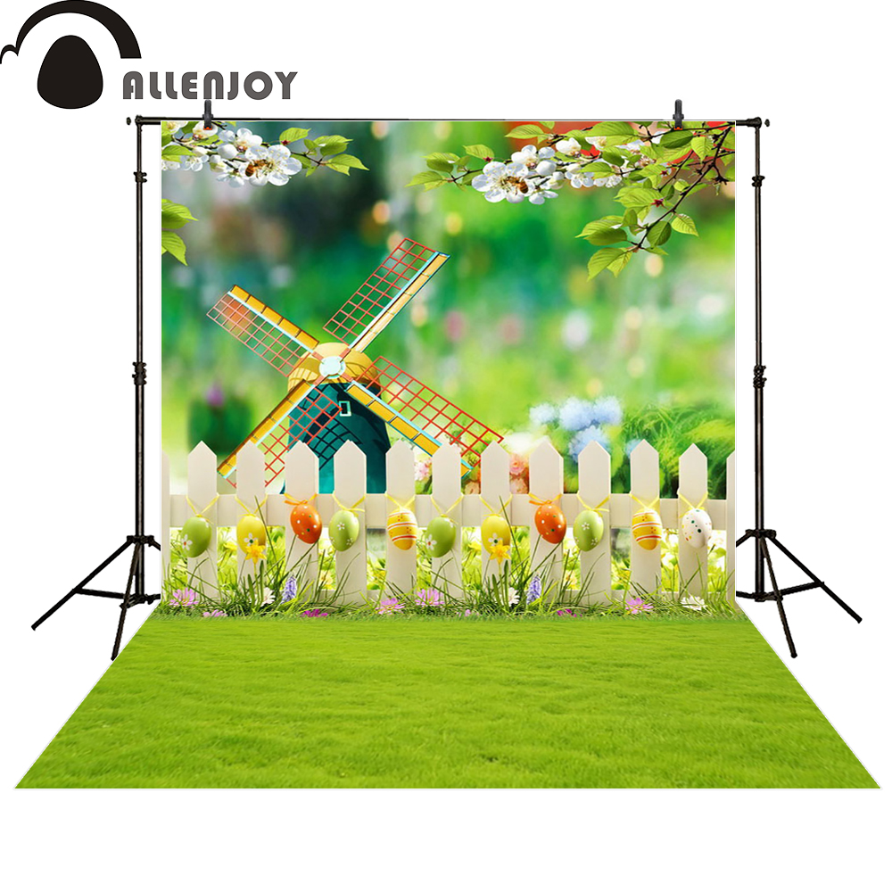 Allenjoy photography background easter windmill grass tress flower computer printing newborn photo studio photobooth