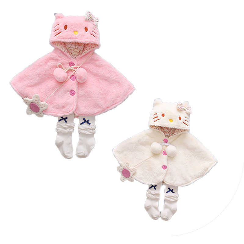 2018 Emmababy Lovely Baby Girls Cat Hooded Cloak Poncho  Cloak Sweater Hariy Outwear Kids wWarm Coat Clothes C