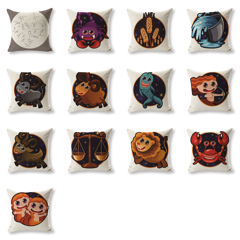 2017Gift Cushion Cover Cartoon Aries Pillowcases Sofaseat Rectangle Cotton Linen Home Office Furniture Constellation Kussenhoe