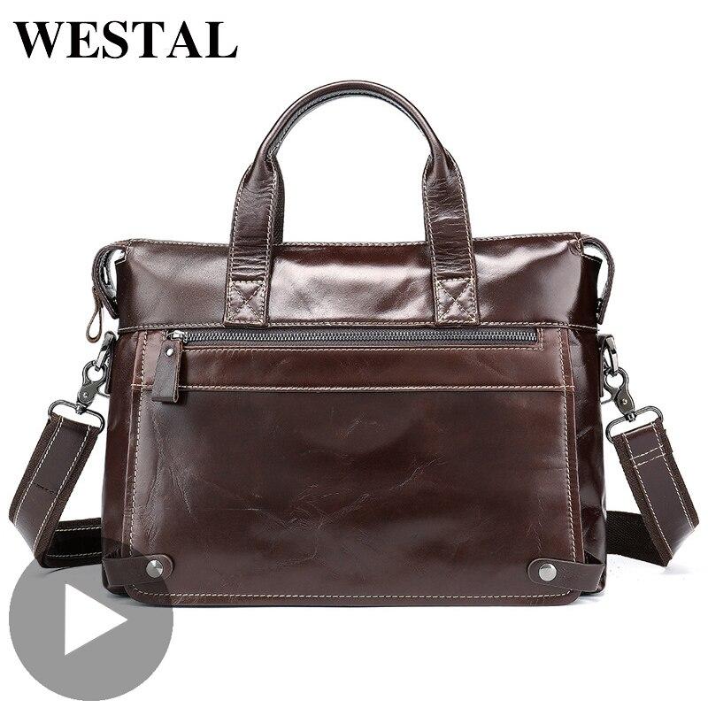 Westal bureau épaule affaires messager femmes hommes sac véritable mallette en cuir pour Document ordinateur portable bureau sac à main mâle femme