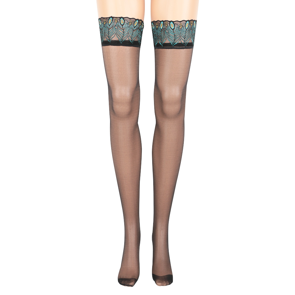 Sexy Embroidery Elastic Stocking Peacock Feathers Lace Top Thigh Highs Anti Slip Women Silicone Striped Stocking