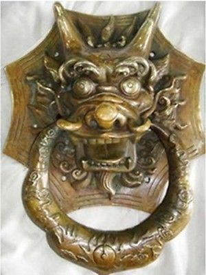 SHUN Beautiful refined big rare old copper foo dragon door knocker