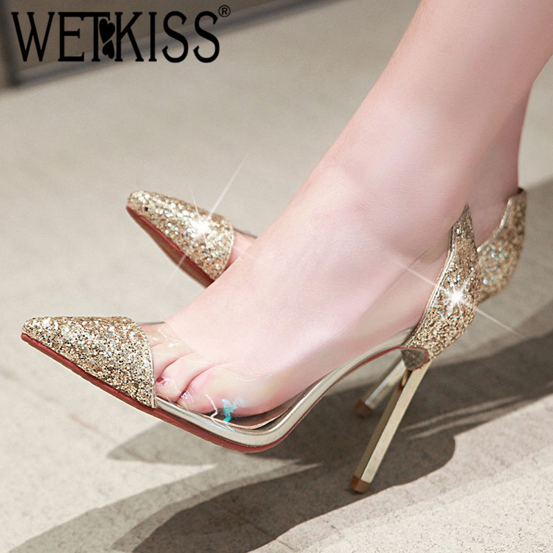 WETKISS Pumps Women Bling-Shoes Pointed-Toe High-Heels Transparent New Footwear Thin