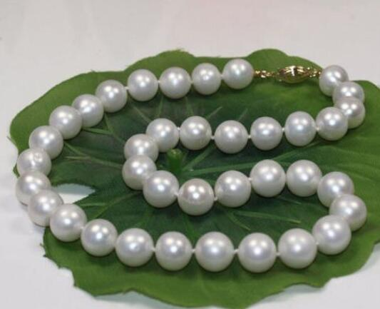 Jewelry classic 9-10mm south sea round white pearl necklace 925s fashion new classic 9 10mm south sea round white pearl necklace 60inch