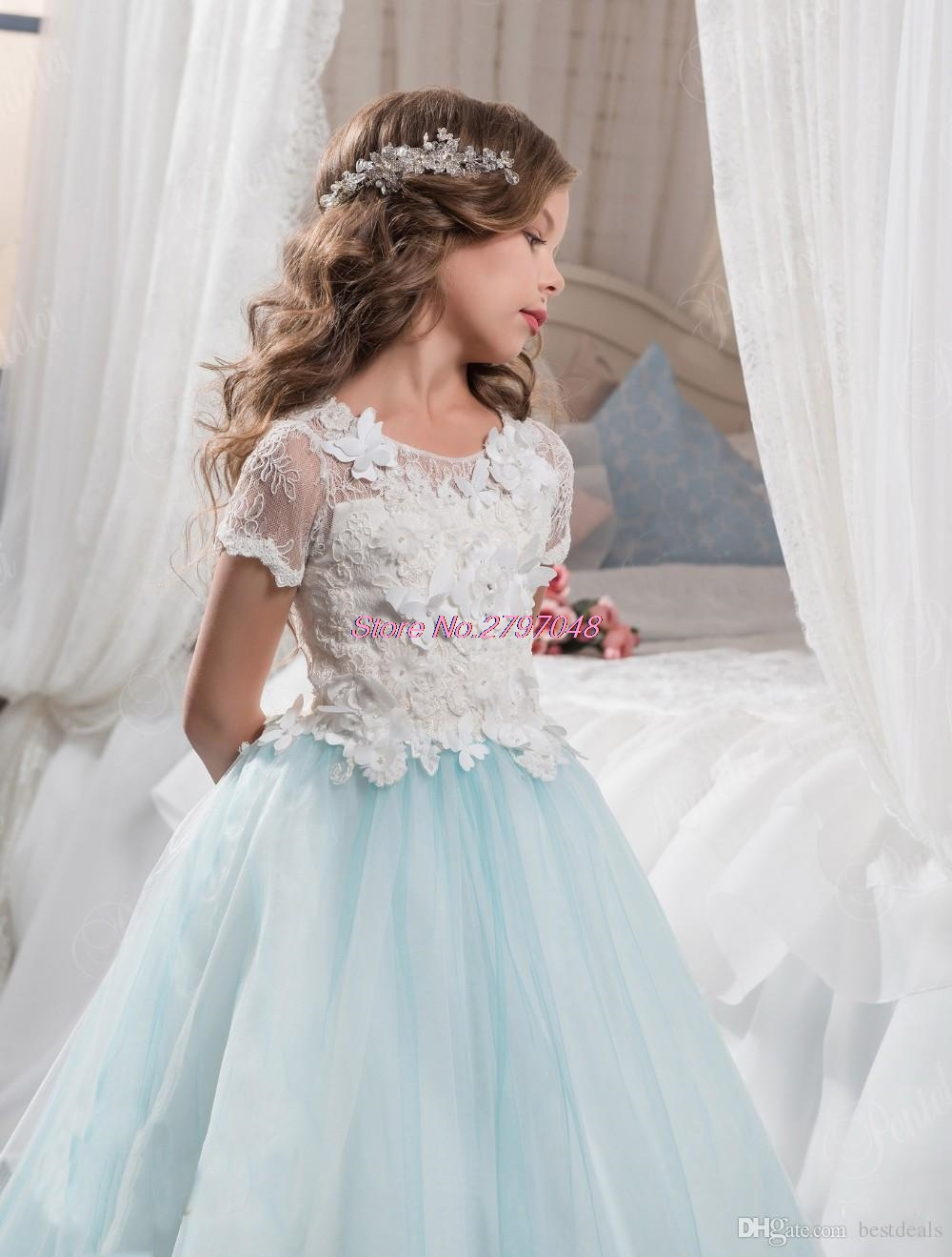 2017 Light Blue Lace Puffy Tulle Flower Girls Dresses for Weddings ...