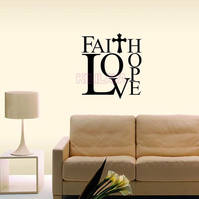 Christian Faith Love Hope Cross Vinyl Wall Sticker Decal Art Saying Uplifting Wallpaper Kids