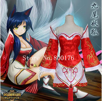 The Nine Tailed Fox Ahri Cosplay Costume LOL cosplay S L