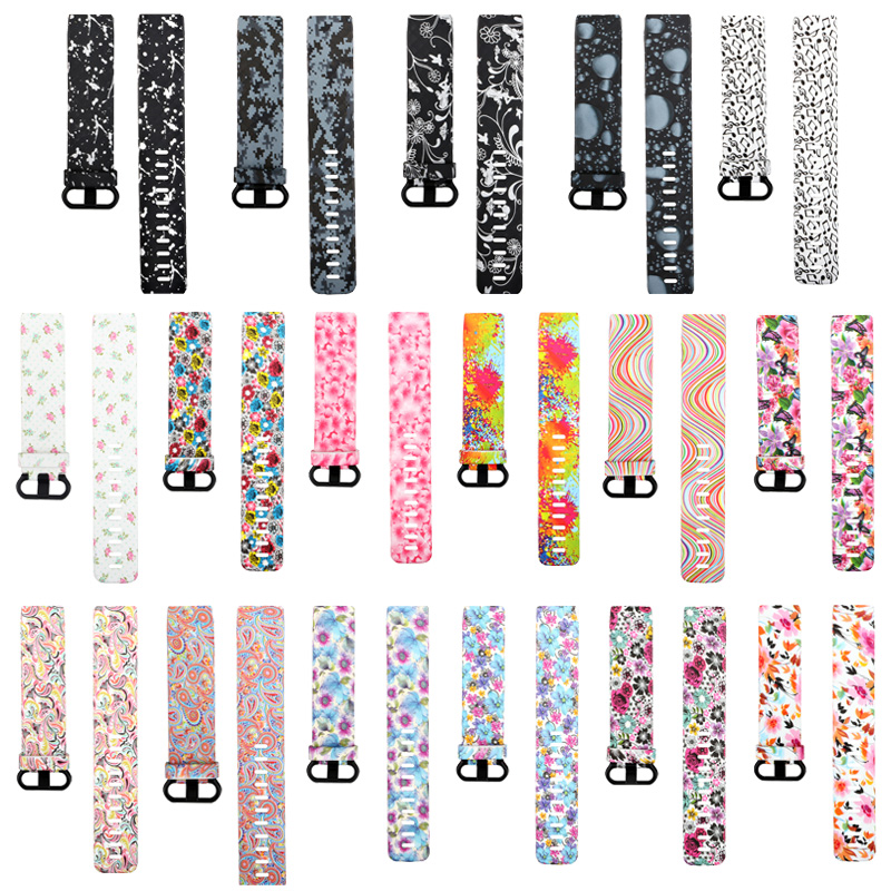 15 Colors Fashion Sport Strap For Fitbit Charge 3 Smart Watch Strap Replacement Printing Silicone Band Men Women Bracelet Bands