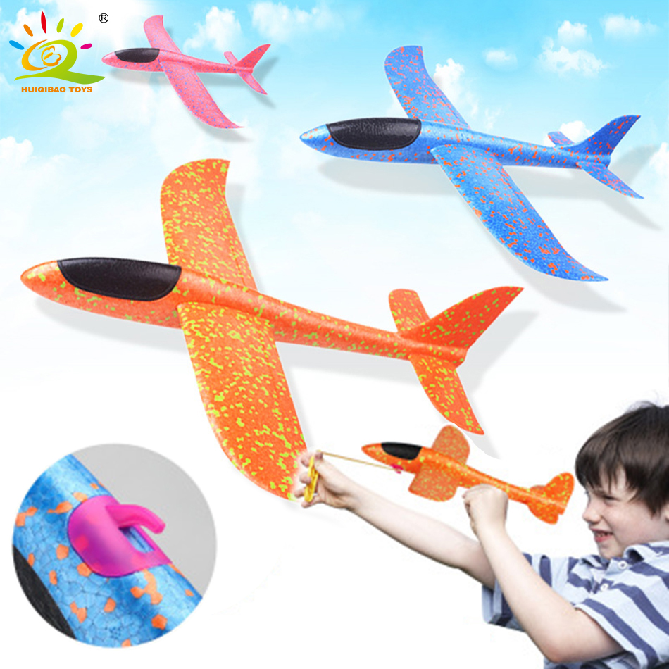 35CM Hand Throw Flying Glider Plane Foam Aeroplane Toys Launch Fillers Bubble Airplane Model DIY Interactive Toys For Children image