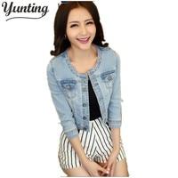Brand Design Spring Autumn Woman Short Denim Jackets Three Quarter Sky Bkue Slim Coat Jaquetas Jeans