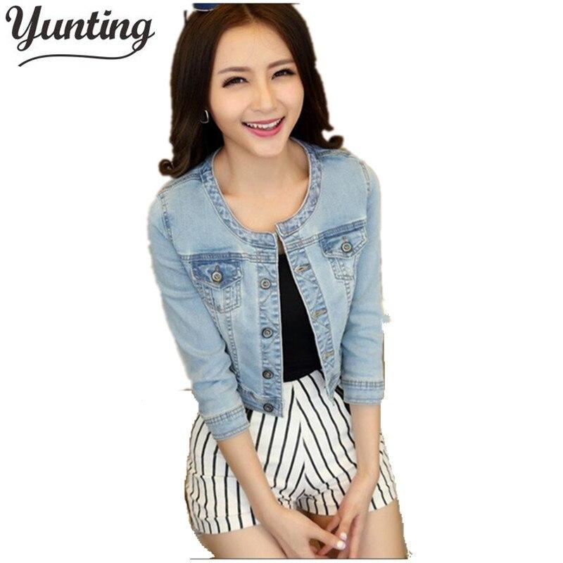 2021 Brand Design Spring Autumn Woman Short Denim Jackets three quarter Sky Bkue Slim Coat Jaquetas Jeans Feminino Jacket Women