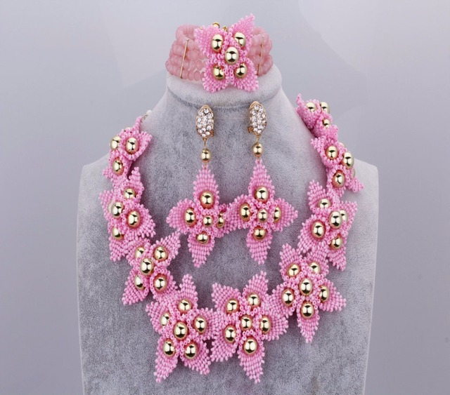 New Arrival Pink Beads Crystal Nigerian African Wedding Necklace Set Dubai Costume Party Jewelry Set For Bride Accessories Store