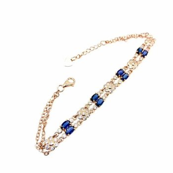 shilovem 925 silver sterling real Natural sapphire link Bracelets fine Jewelry trendy party gift new plant 3*5MM yhl0305089agl