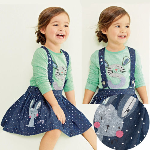 2Pcs Baby Kids Girls Rabbit Bunny Green Cotton T-shirt Tops+Dots Denim Bib Overalls Skirts Outfit Clothes 1-5Y retail 2014 2pc baby girls kids rabbit tops dot denim overalls dresses outfit clothes children s clothing set suits