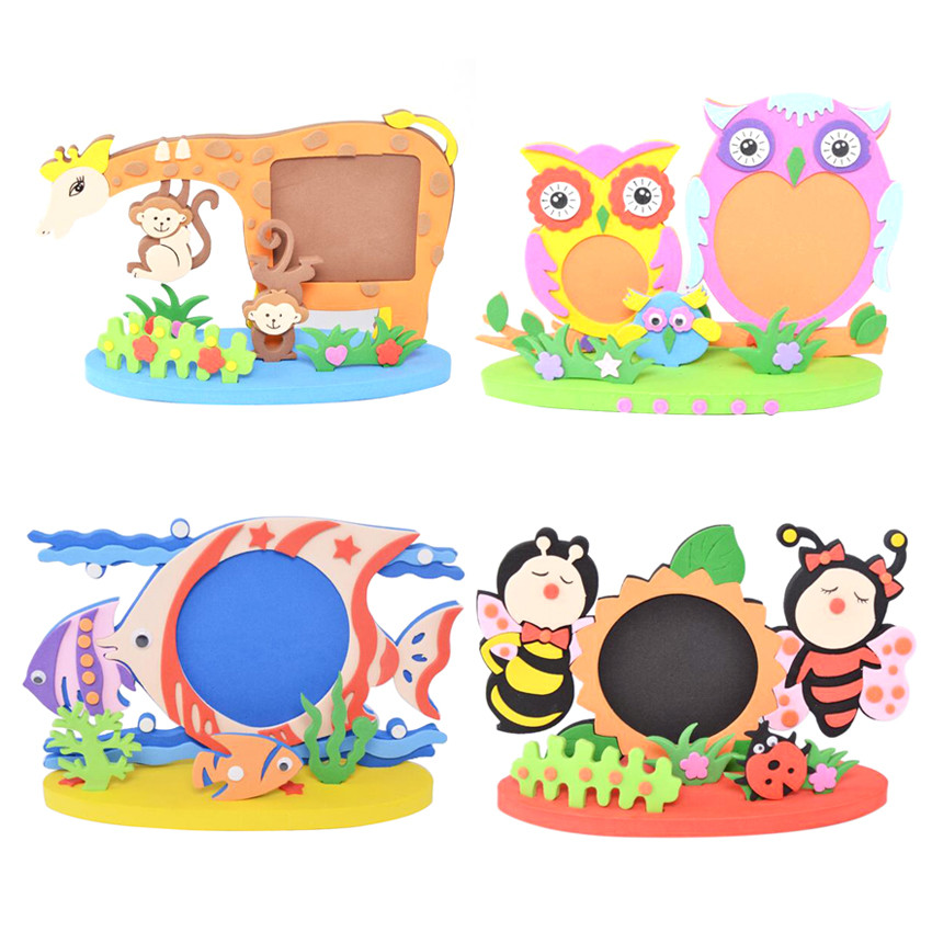 Easy Crafts EVA Sticky Sticker Animal Photo Frames Kids Child Rand Pattern Creative Activity Cartoon DIY Toys
