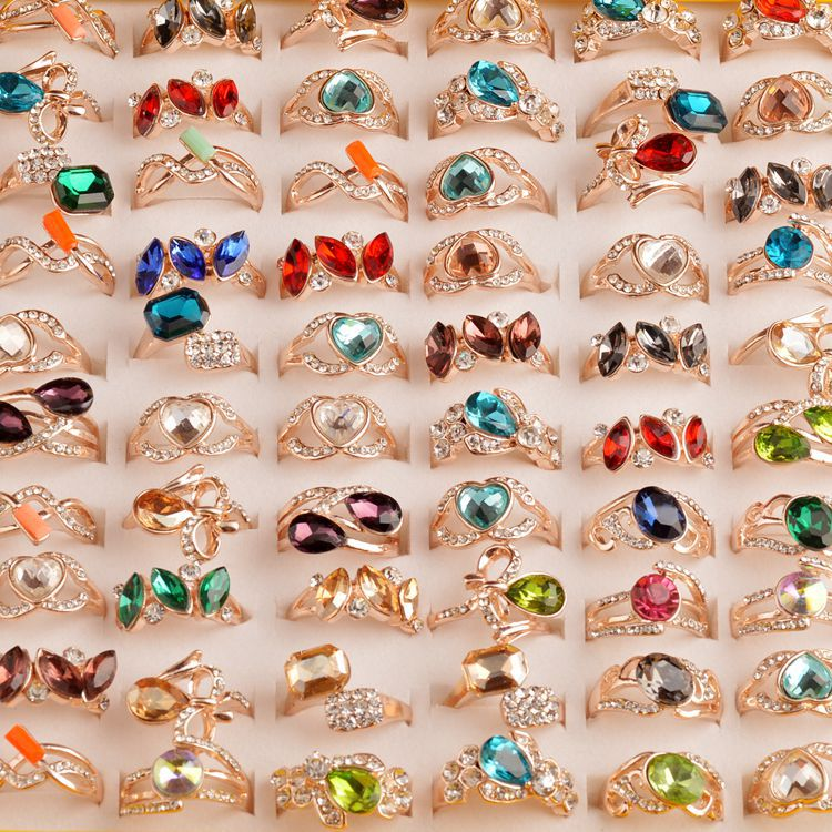 MYDANER New 50Pcs/lot Wholesale Mixed Colorful CZ Crystal Rhinestone Women Rings Elegant Party Wedding Jewelry Bulks Lots-in Rings from Jewelry & Accessories    1