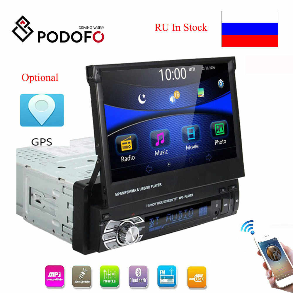 "Podofo 1DIN Mobil Stereo Audio Radio Bluetooth 7 ""Retractabletouch Layar Mobil MP5 Player SD FM USB Radio Dukungan Belakang kamera"