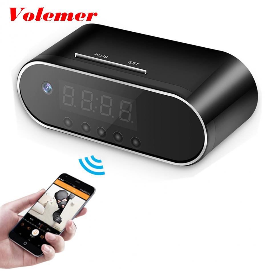 Volemer 1080P 720P HD Table Alarm Mini Camera IR Night Vision Wireless Control Wifi Cam IP Clock Camera Mini DV DVR Camcorder