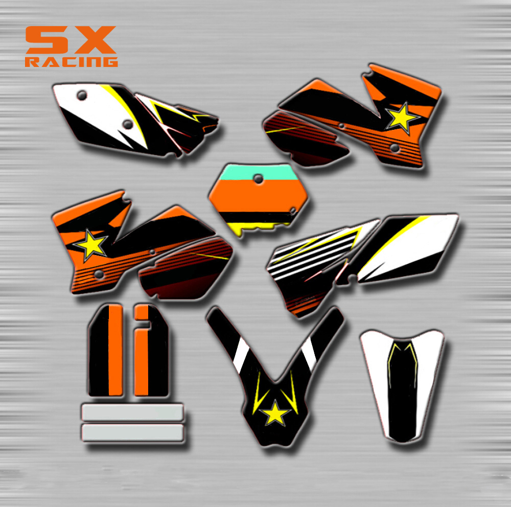 Motorcycle Decals Customize Pattern Custom Made Stickers Set For KTM SX 125 250 450 525 EXC XC XCF XCW XCFW SXS SXF SMR OFF Road motorcycle front rider seat leather cover for ktm 125 200 390 duke