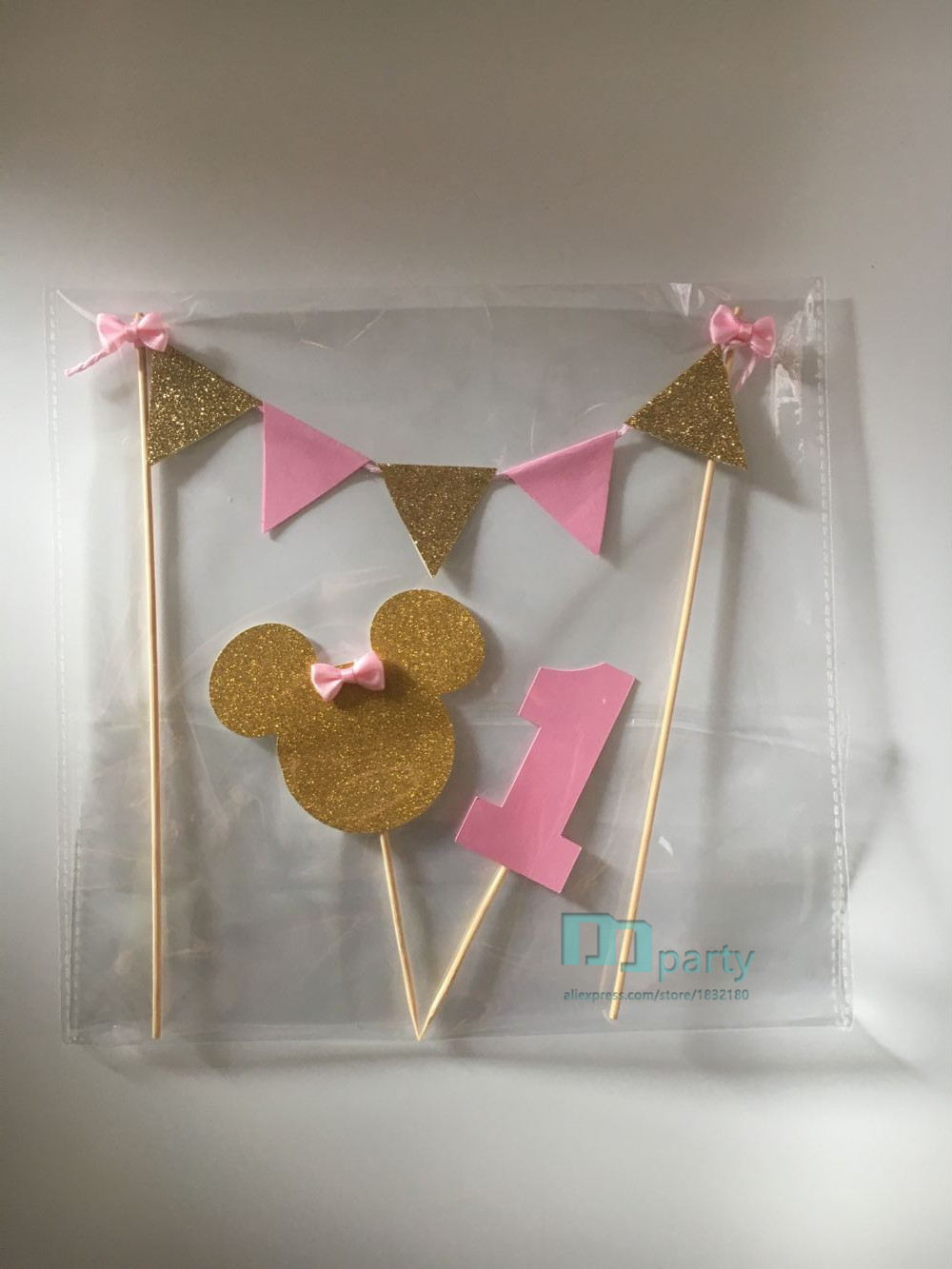 1set Minnie Mouse Cake Banner Topper 1st Birthday Pink And Gold Cake Topper  One Birthday Bunting