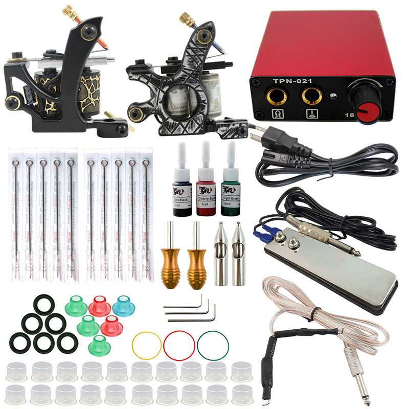 new Complete profession Tattoo kits 10 wrap coils 2 guns machine 3 tattoo ink sets power supply disposable needle clip cord complete tattoo kits pro gun machine power pedal 10 color ink sets power supply disposable needle grip tip quality new arrival