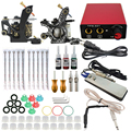new Complete profession Tattoo kits 10 wrap coils 2 guns machine 3 tattoo ink sets power supply disposable needle clip cord