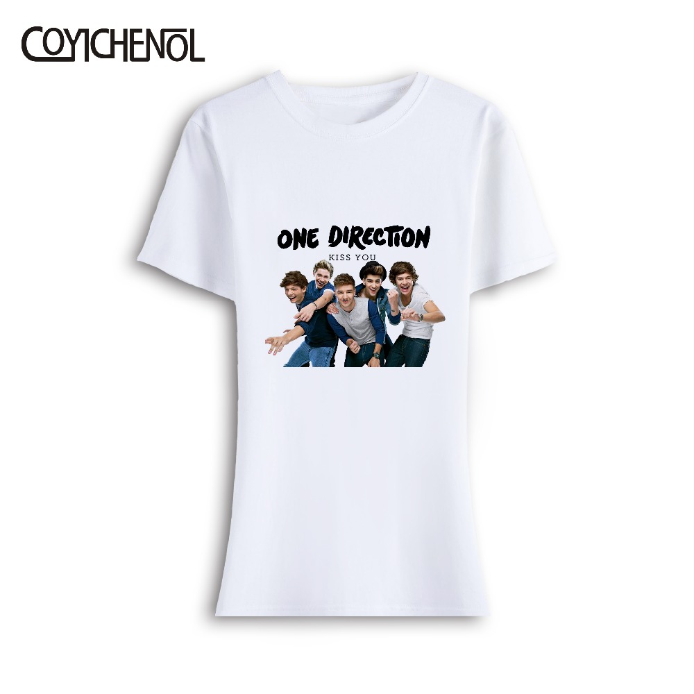 One direction short Sleeve Model O neck t shirt summer women top Funny Design Letter Print t shirt COYICHENOL in T Shirts from Women 39 s Clothing