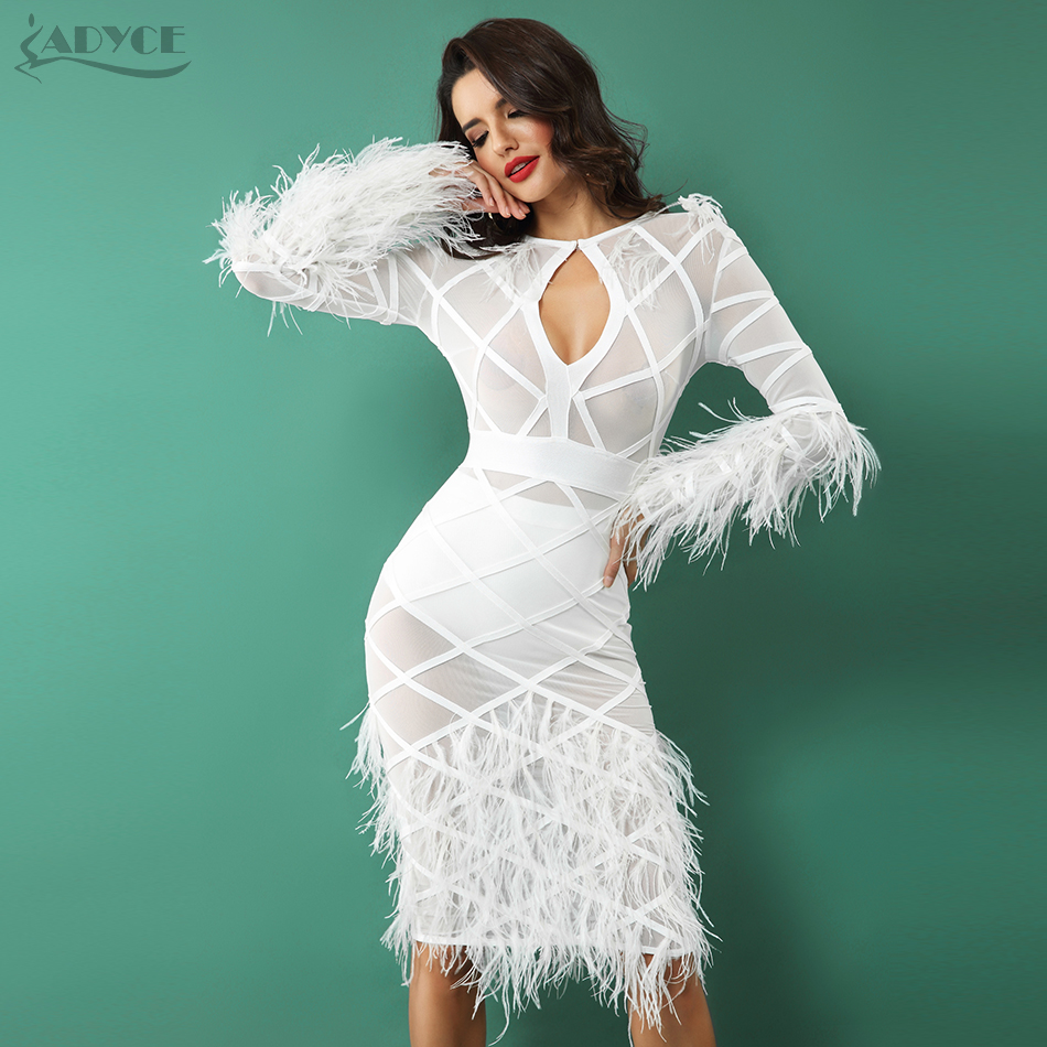 ADYCE Women Bandage Feather Dress 2018 Spring Celebrity Evening ...