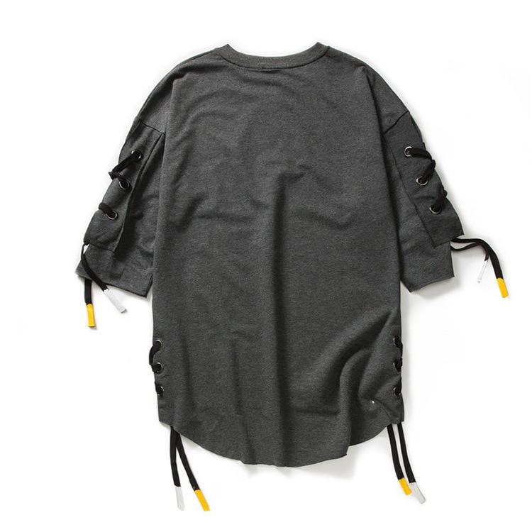ABOORUN Men's Hip Hop T-shirt Rule Ribbons Decoration Printed Tees High Street Original Loose Short Sleeve Shirts for Male R149 34
