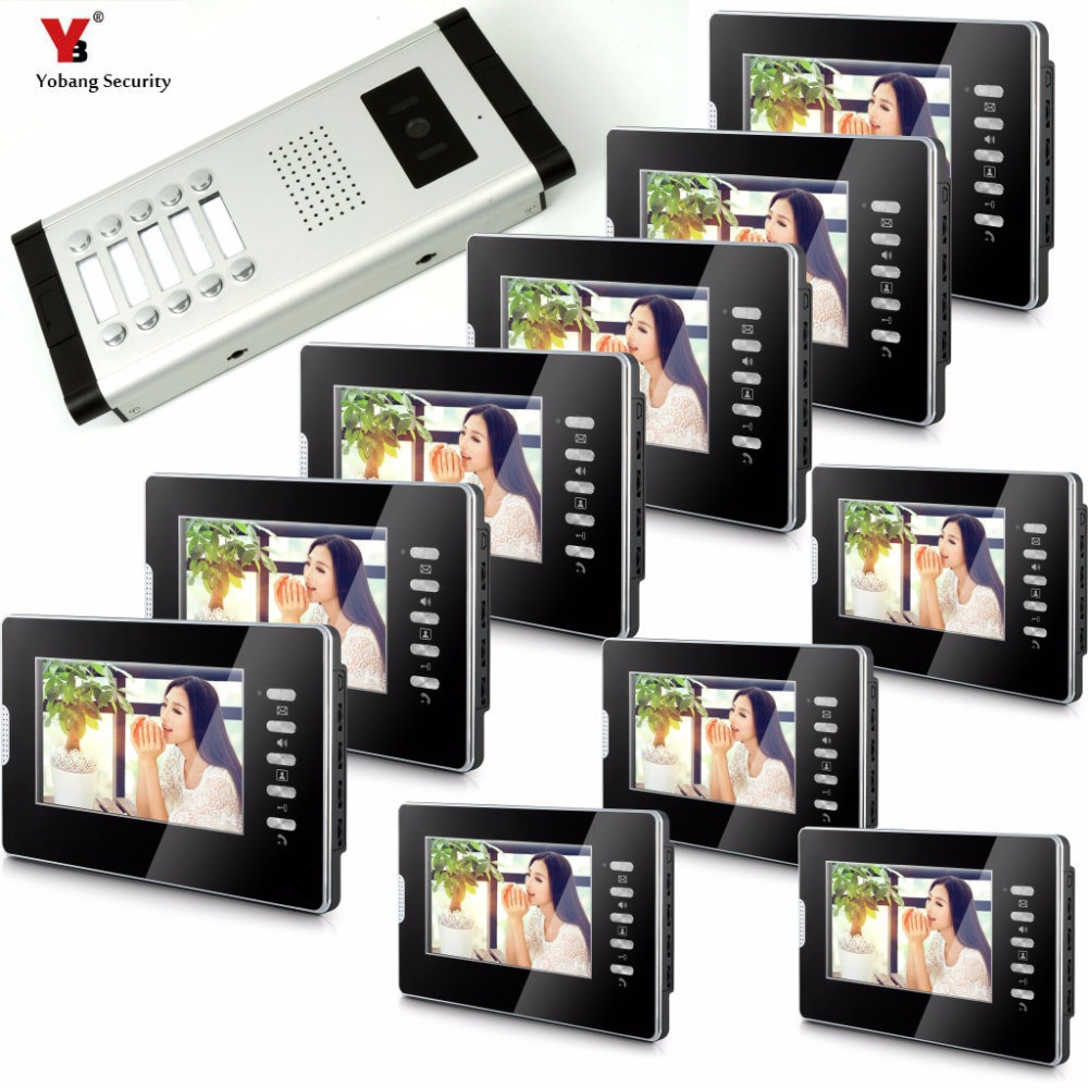 Yobang Security Apartment Intercom Entry 10 Monitor Wired 7 Color button Video Door Phone intercom System for 10 house my apartment