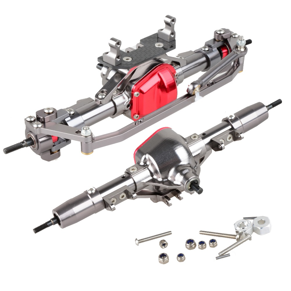 High Quality 1/10 Rc Car Complete Alloy Front And Rear Axle CNC Machined for 1:10 Rc Crawler AXIAL SCX10 RC4WD D90 Truck rc car 1 10 metal complete alloy front and rear axles for 1 10 rc crawler d90 scx10 rc4wd axial yota 2