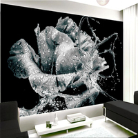 Beibehang Customize Any Size Mural Wallpaper 3D Water Flower Waterdrop Butterfly Black And White Vintage Floral