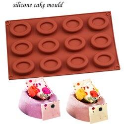 Molde de bolo de silicone bakeware conjunto de moldes de silicone donut forma oval mousse decorações de bolo 12-cavidade molde de natal de chocolate