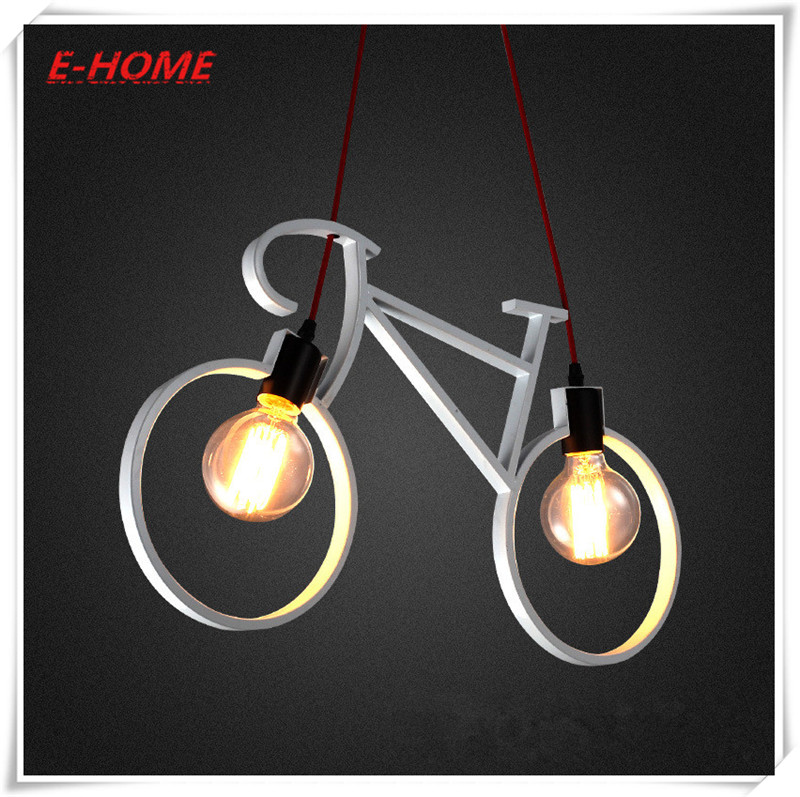 Nordic minimalist clothing store pendant personalized restaurant bar bicycle bike creative wrought iron led lamp цена