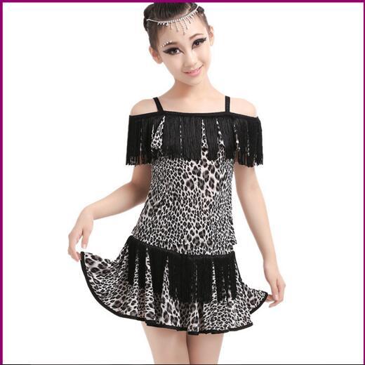 Free Shipping Children Girl Sexy Leopard Tassel Latin Dress Lotus Leaf Collar Skirt  Suits Kid Latin Performance Dance Dress