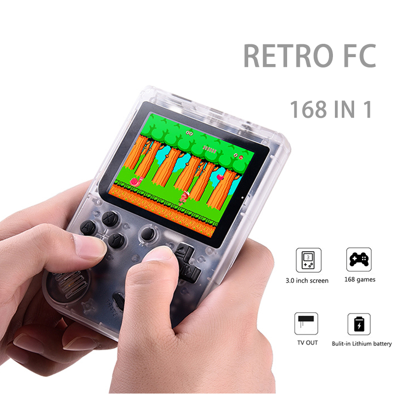 Handheld Game Consoles To TV Children Retro Mini 3 Inch 8 Bit Classic Video Game Player Black Built in 168 Gmaes Rechargeable