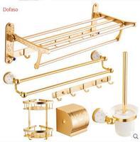 Dofaso luxury gold bath accessories Shelves hooks holder racks shelf golden antique bath accessories set bath room accessories
