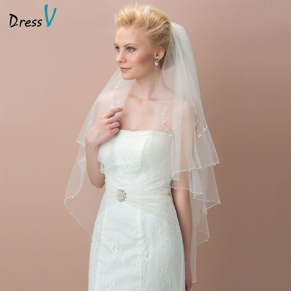Dressv ivory wedding veil tulle beads elbow bridal veil two-layer beads edge wedding accessories bridal veil for wedding
